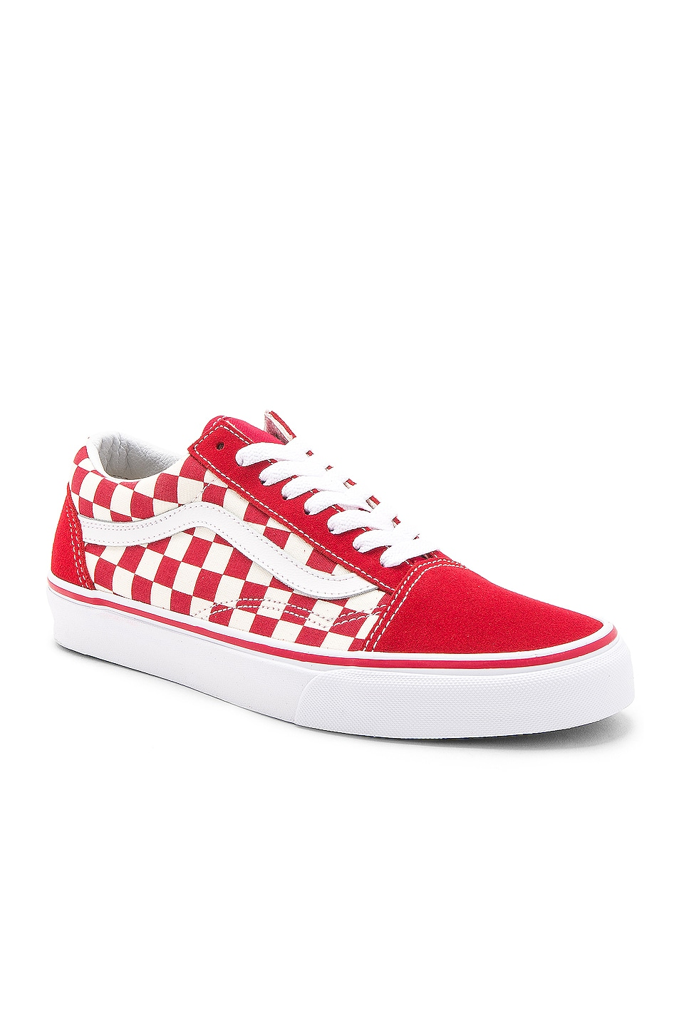 Vans Old Skool Checkboard in Racing Red & White