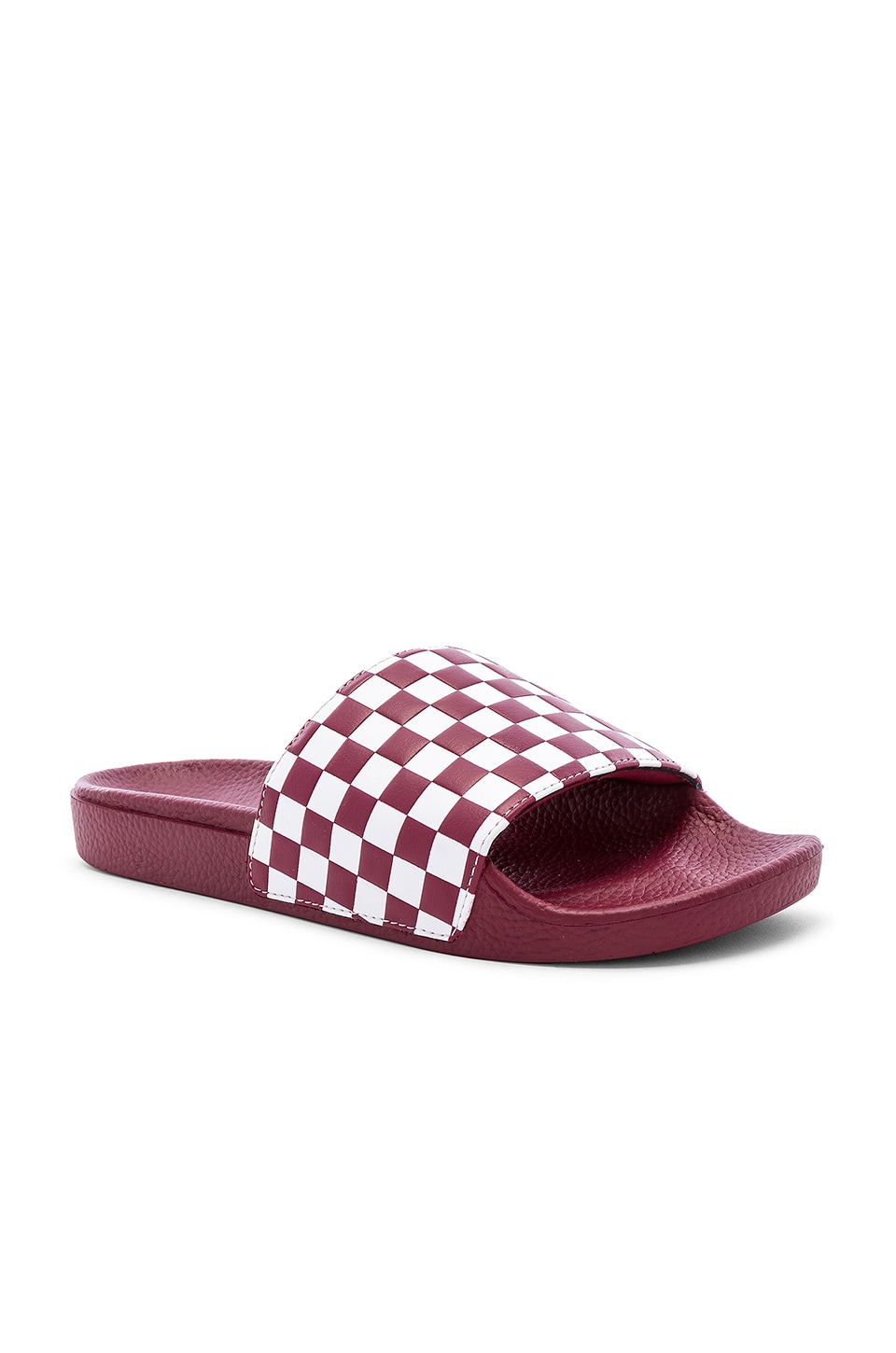 Vans Checkerboard Slides in Rhumba Red & White