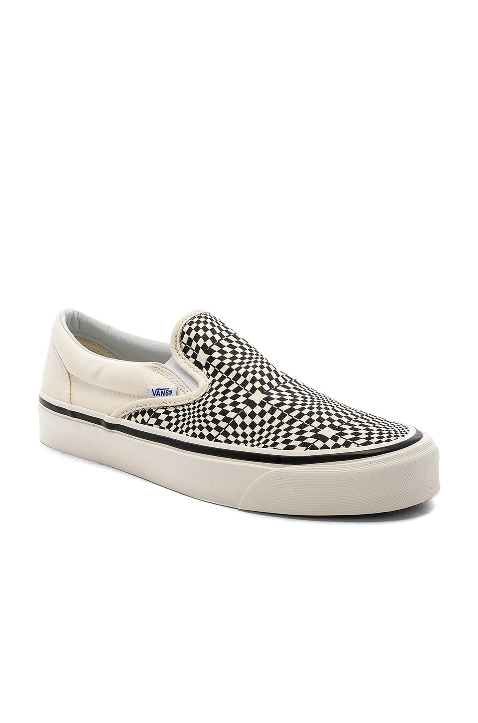 Vans Classic Slip-On 98 in OG Black & White & Warp Check