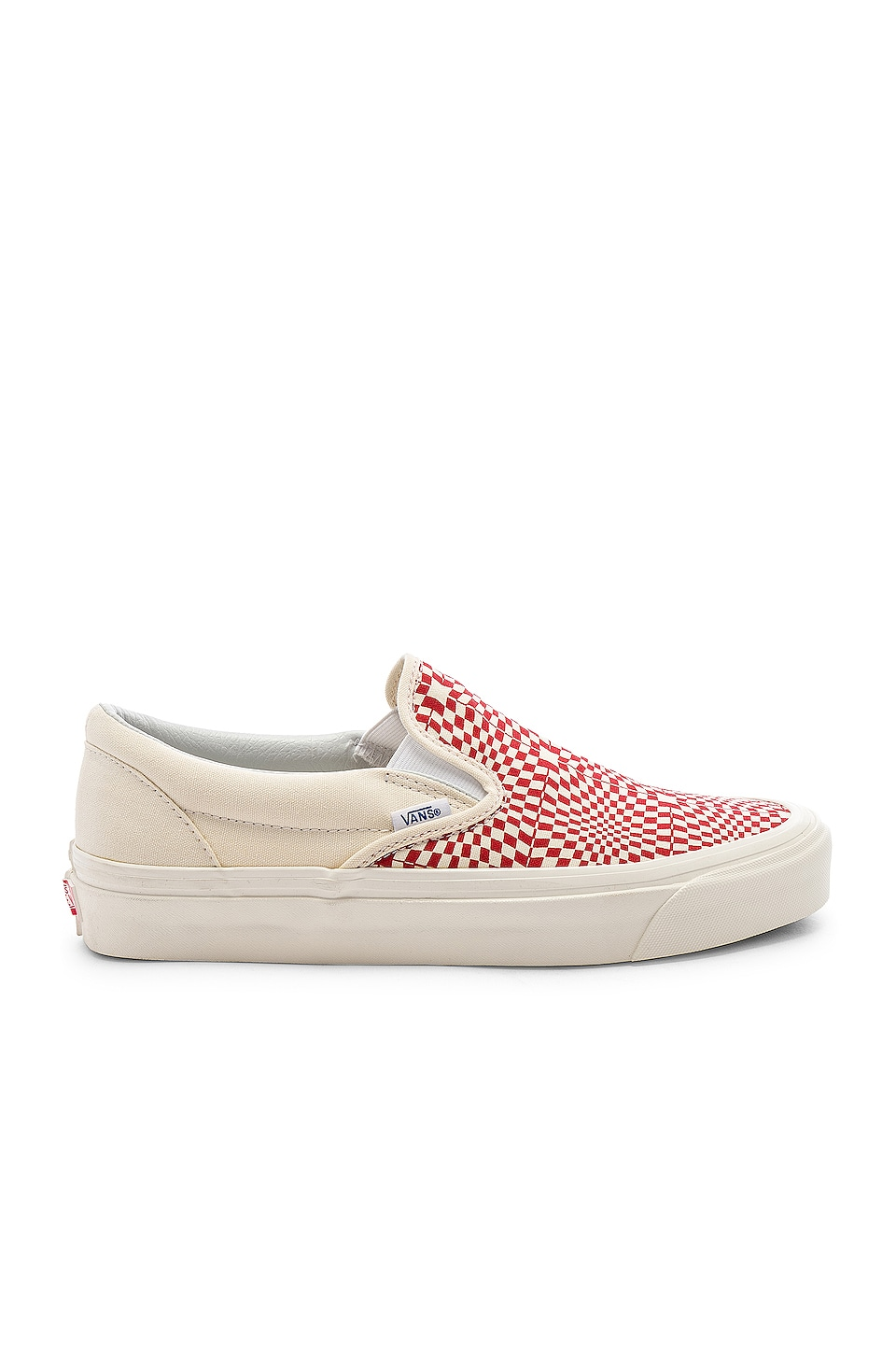 Vans Slip-On 98 in OG Red & White & Warp Check