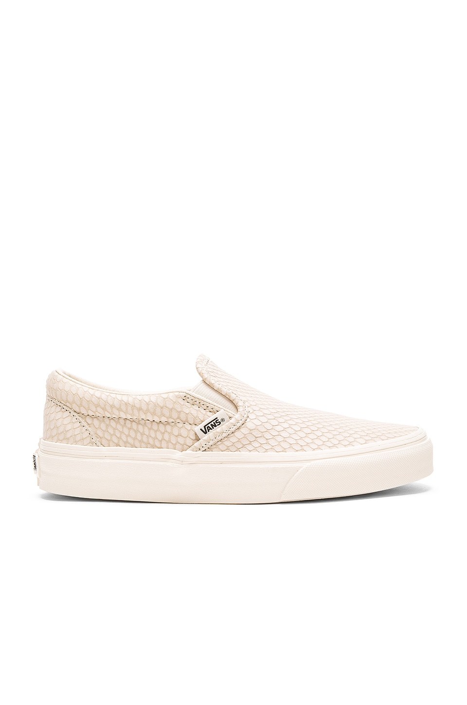 Vans Snake Leather Classic Slip-On + in Antique White