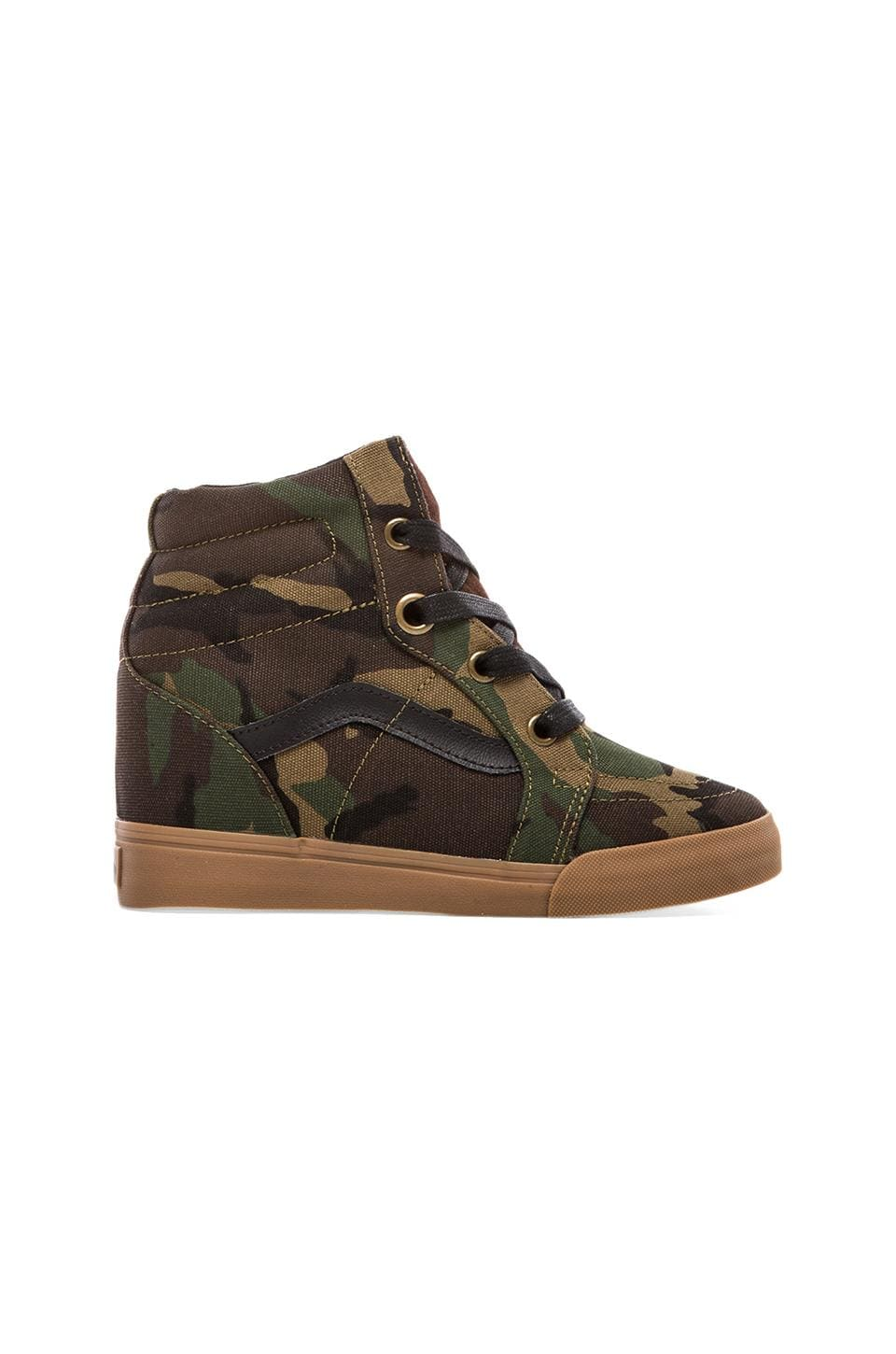 Vans Sk8-Hi Wedge Sneaker in Military Olive & Medium Gum