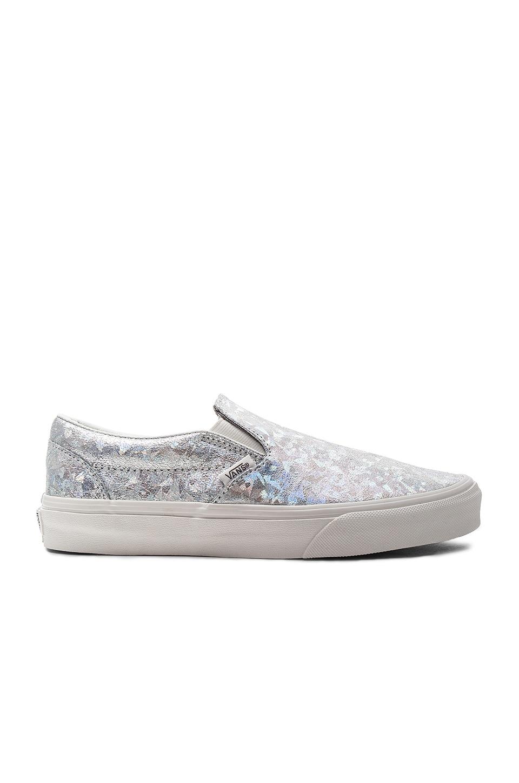 Vans Classic Slip On Sneaker in Silver & Blanc de Blanc