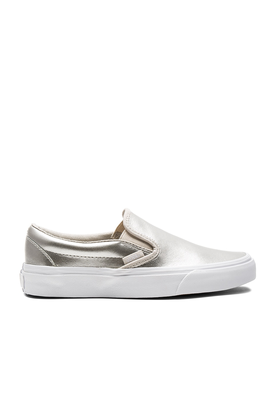 Vans Classic Slip-On Sneaker in Silver & True White