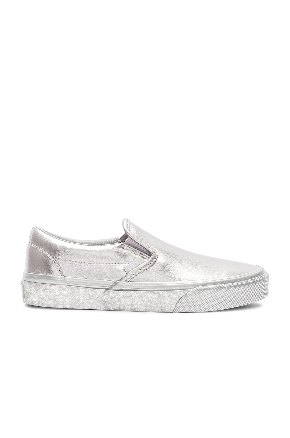 Vans Metallic Sidewall Classic Slip-On Sneaker in Silver