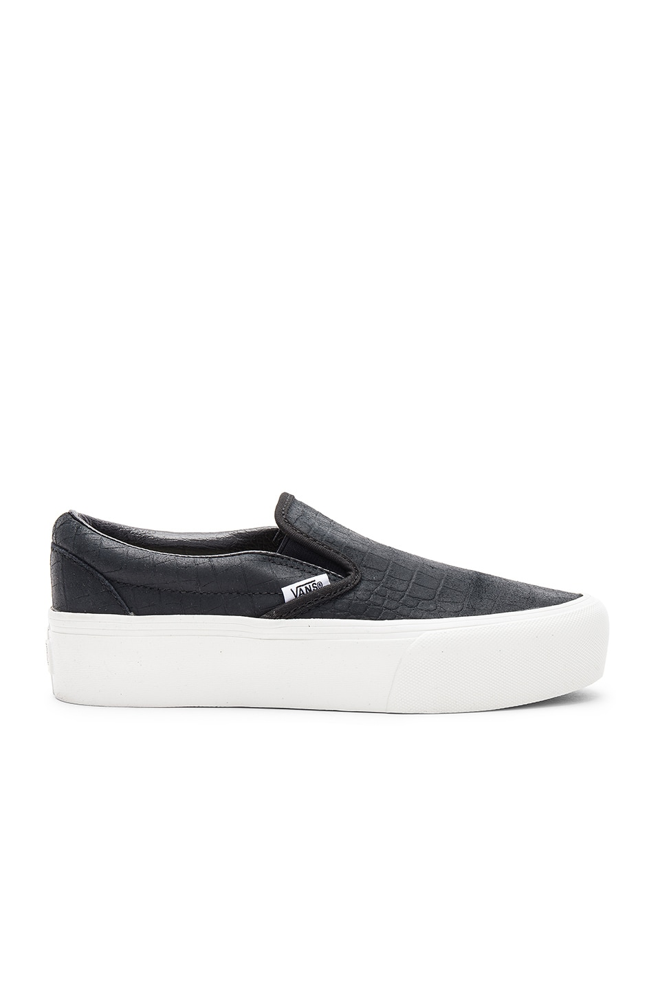 Vans Embossed Classic Slip-On Platform in Black & Blanc De Blanc ...