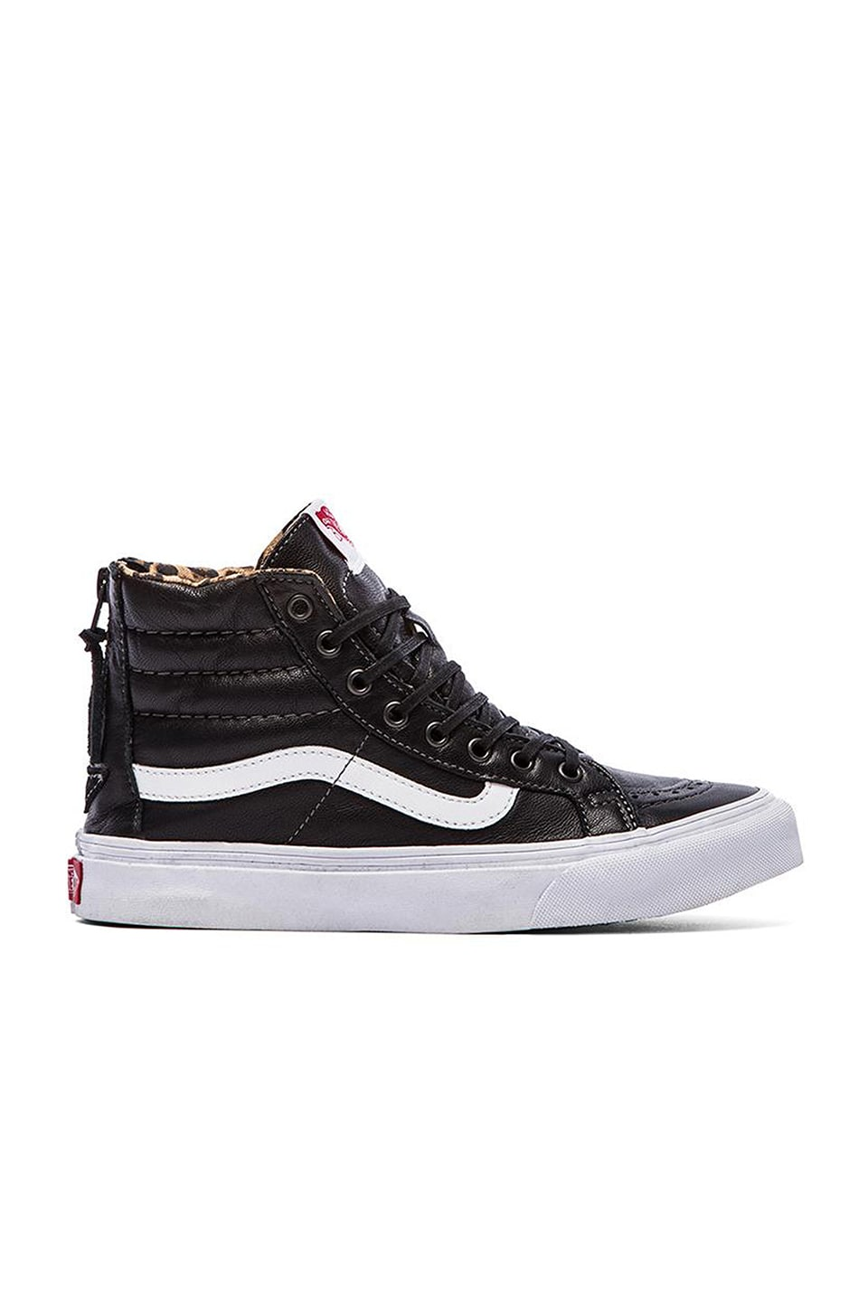 Vans SK8-Hi Slim Zip Sneaker in Black & Leopard