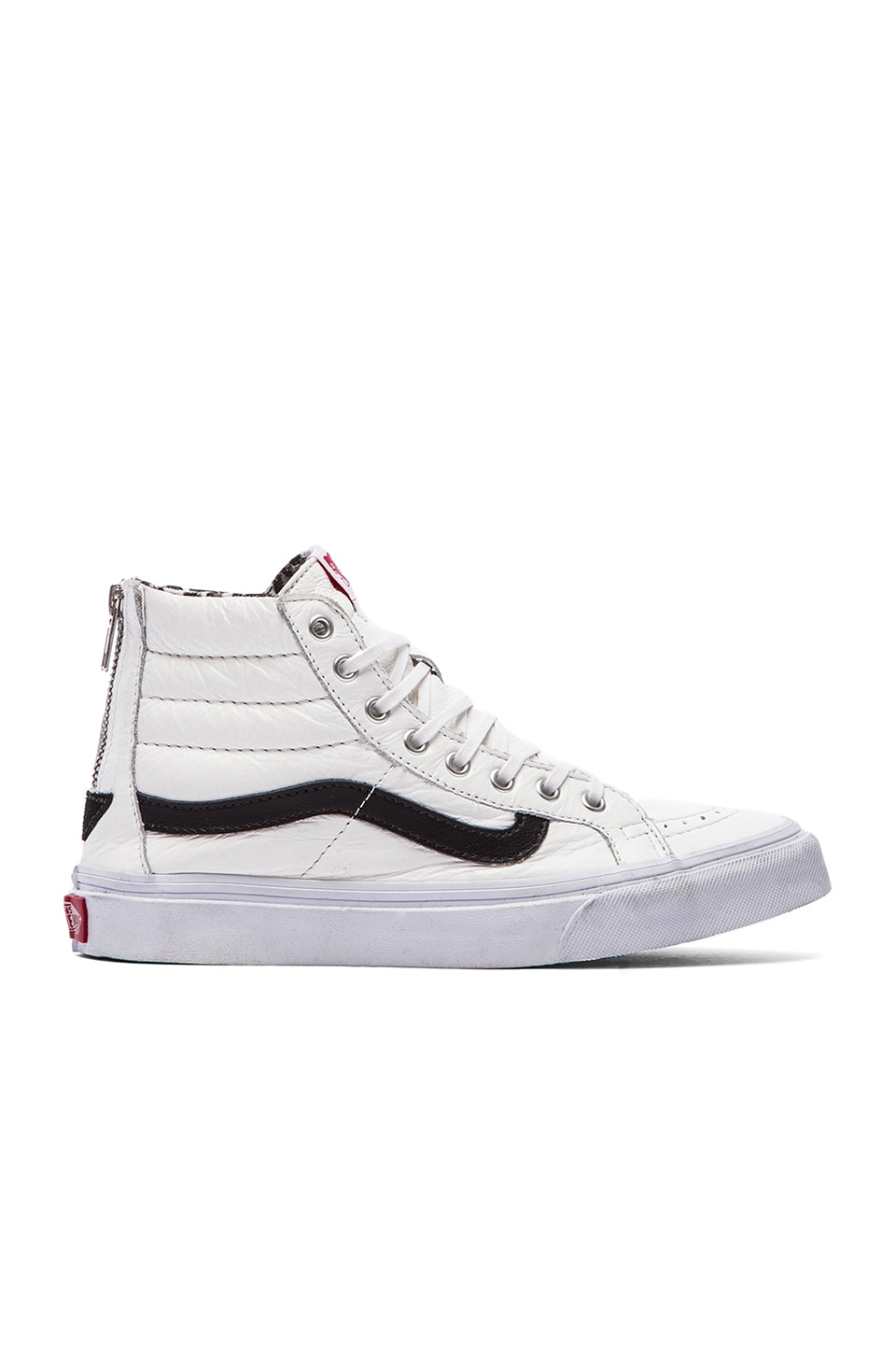 Vans SK8-HI Slim Zip Sneaker in True White & Snow Leopard