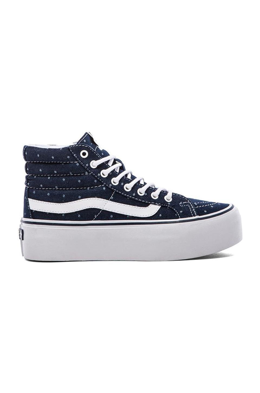 Vans SK8-Hi Platform Sneaker in Navy Denim