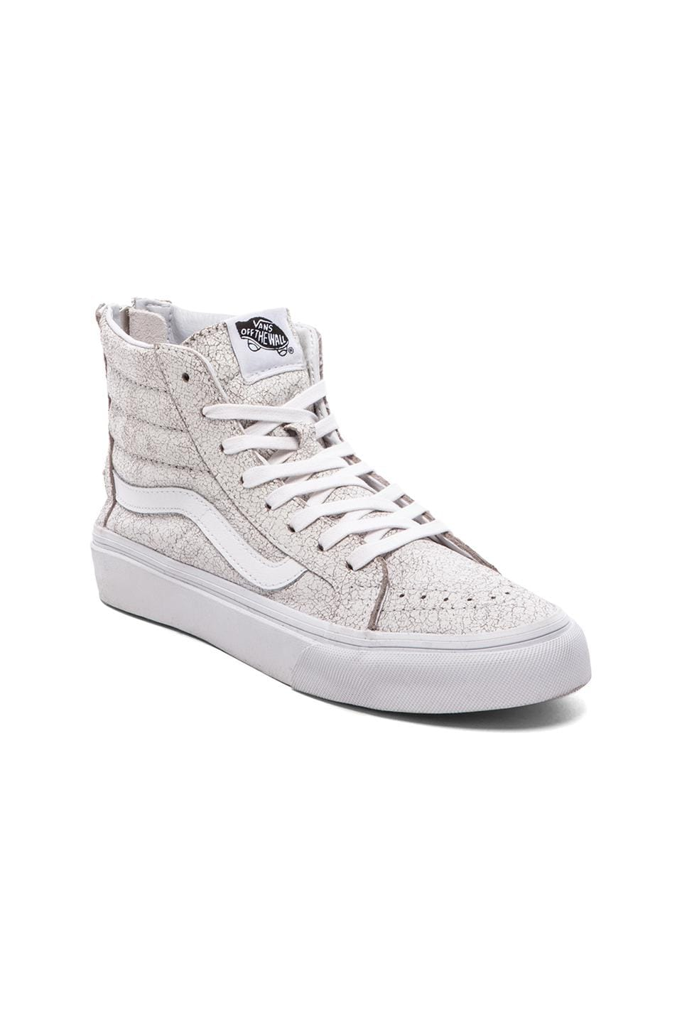 vans sk8 hi white cracked leather