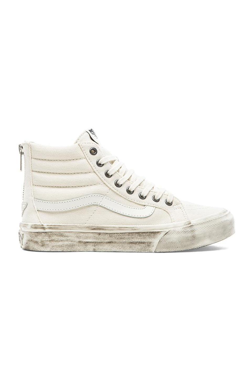 Vans Sk8-Hi Slim Zip Sneaker in Blanc de Blanc