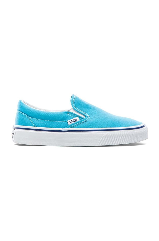 Vans Classic Slip On Sneaker in Cyan Blue & True White