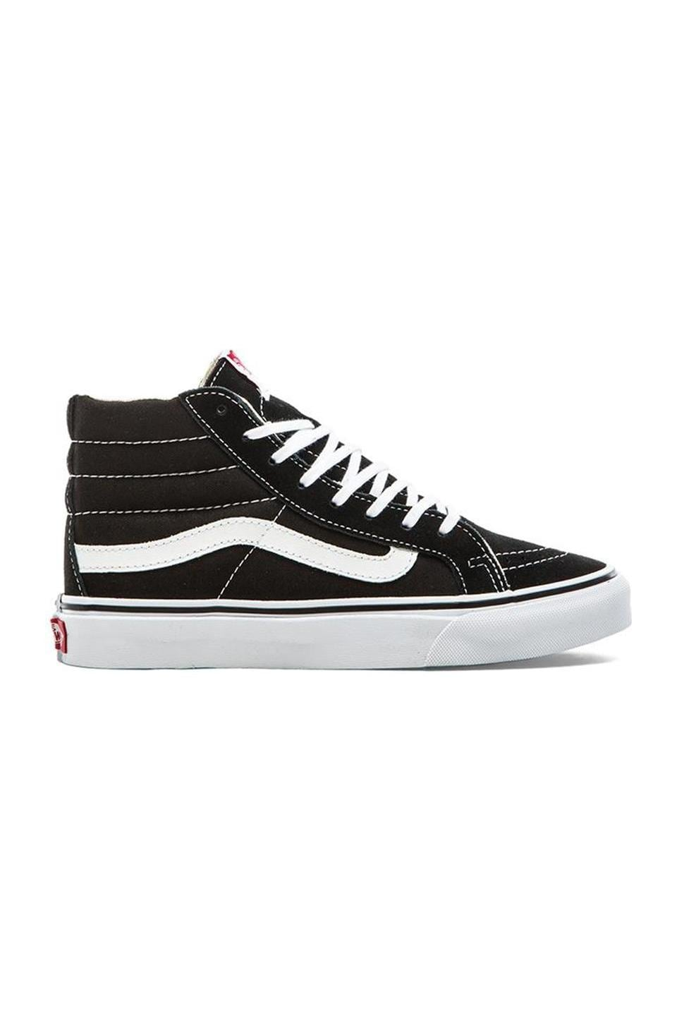 Vans Sk8-Hi Slim Sneaker in Black & True White