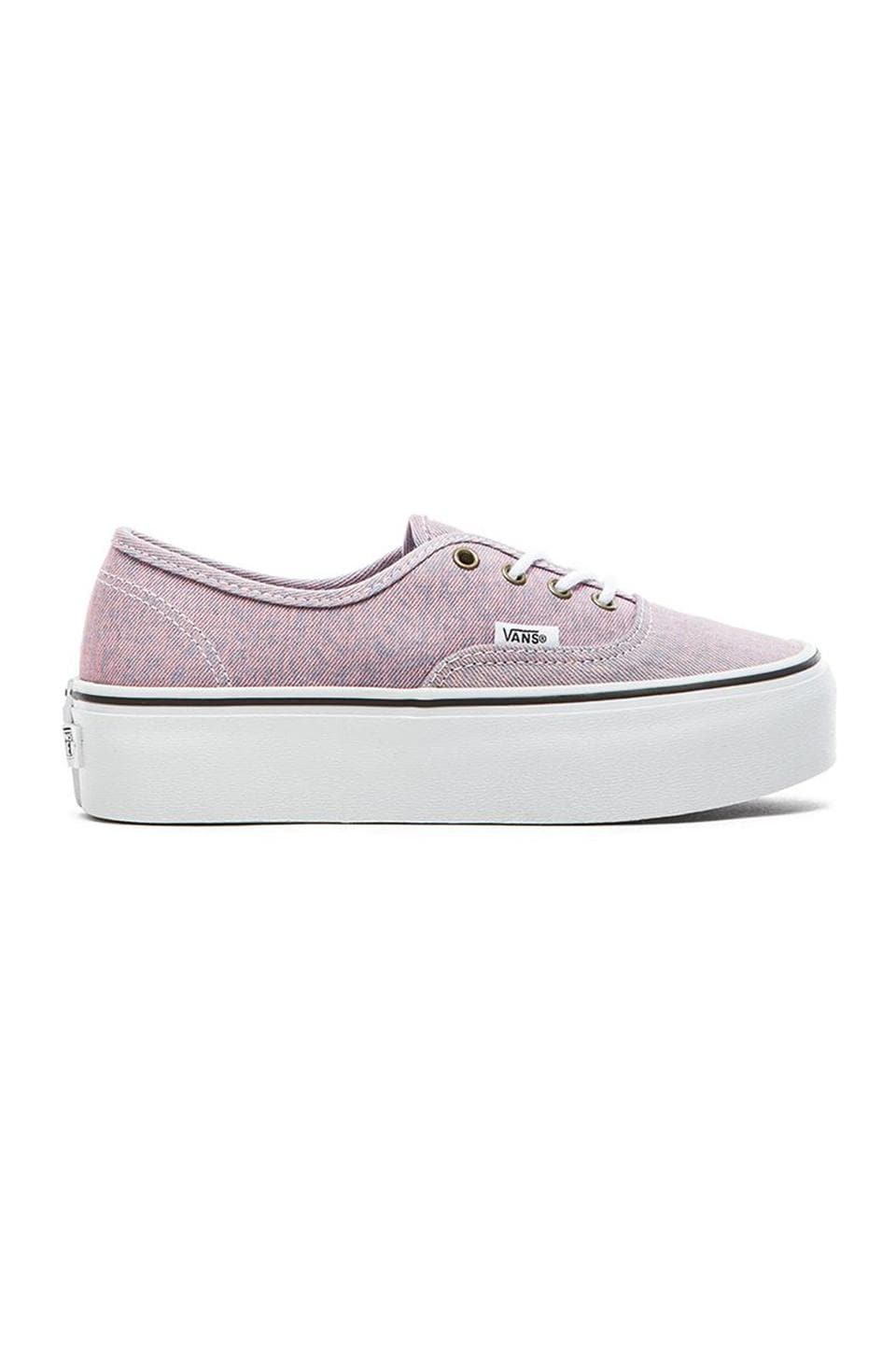 Vans Authentic Washed Denim Platform Sneaker in Pink