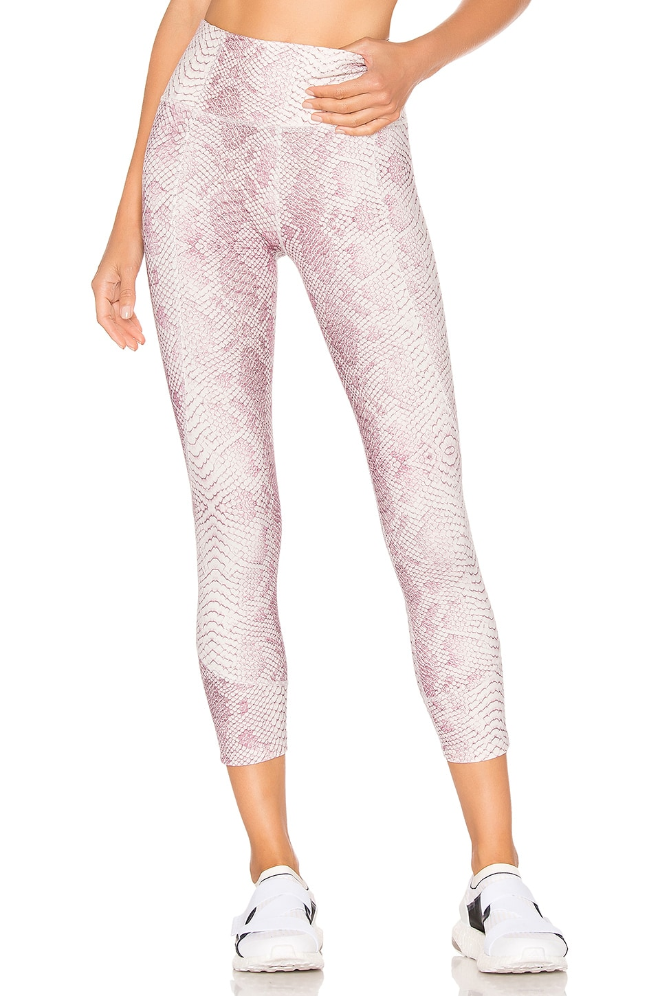 Kensington Cropped Snake-Print Stretch Leggings in Pink