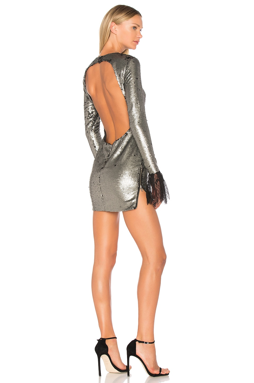 VATANIKA Backless Lace-Trimmed Mini Dress en Matte Grey