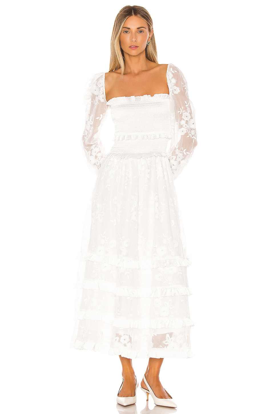 V. Chapman Magnolia Dress in White
