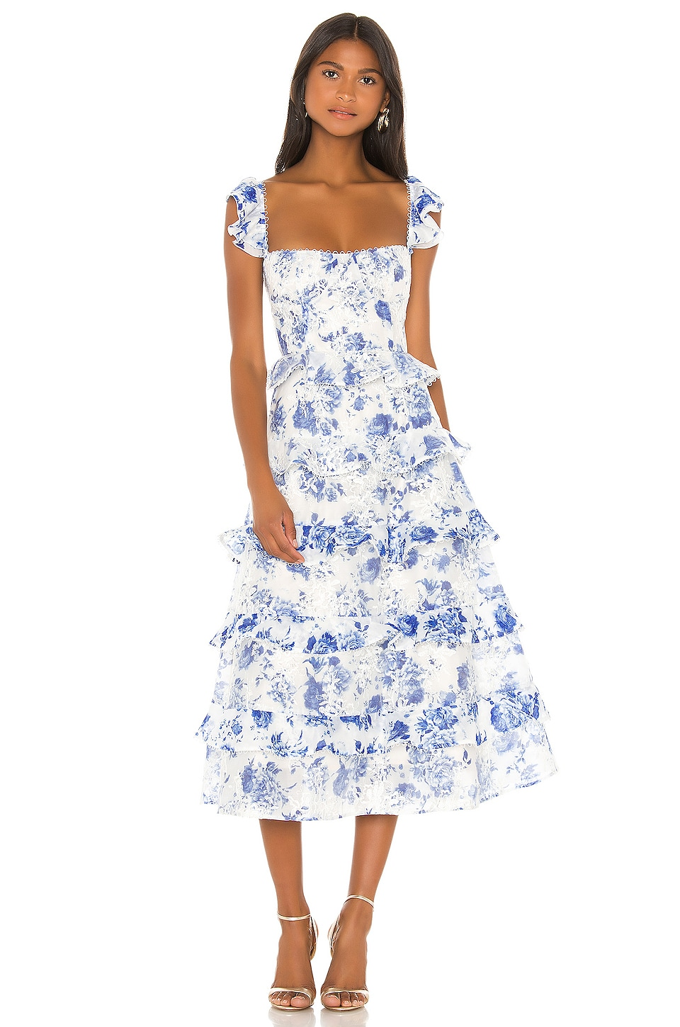 V. Chapman Maribelle Dress in French Blue Floral