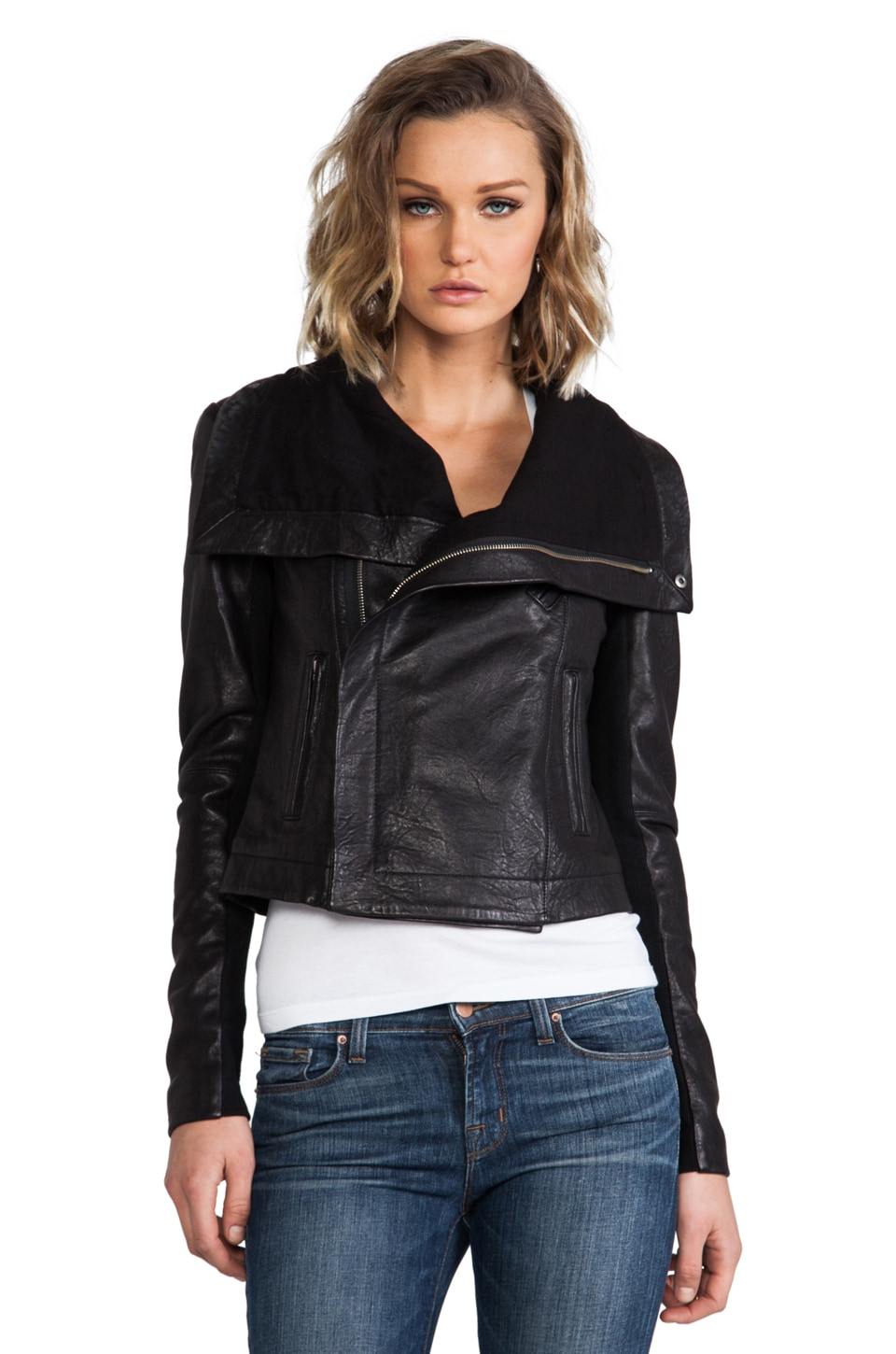 VEDA Max Classic Crispy Leather Jacket in Black