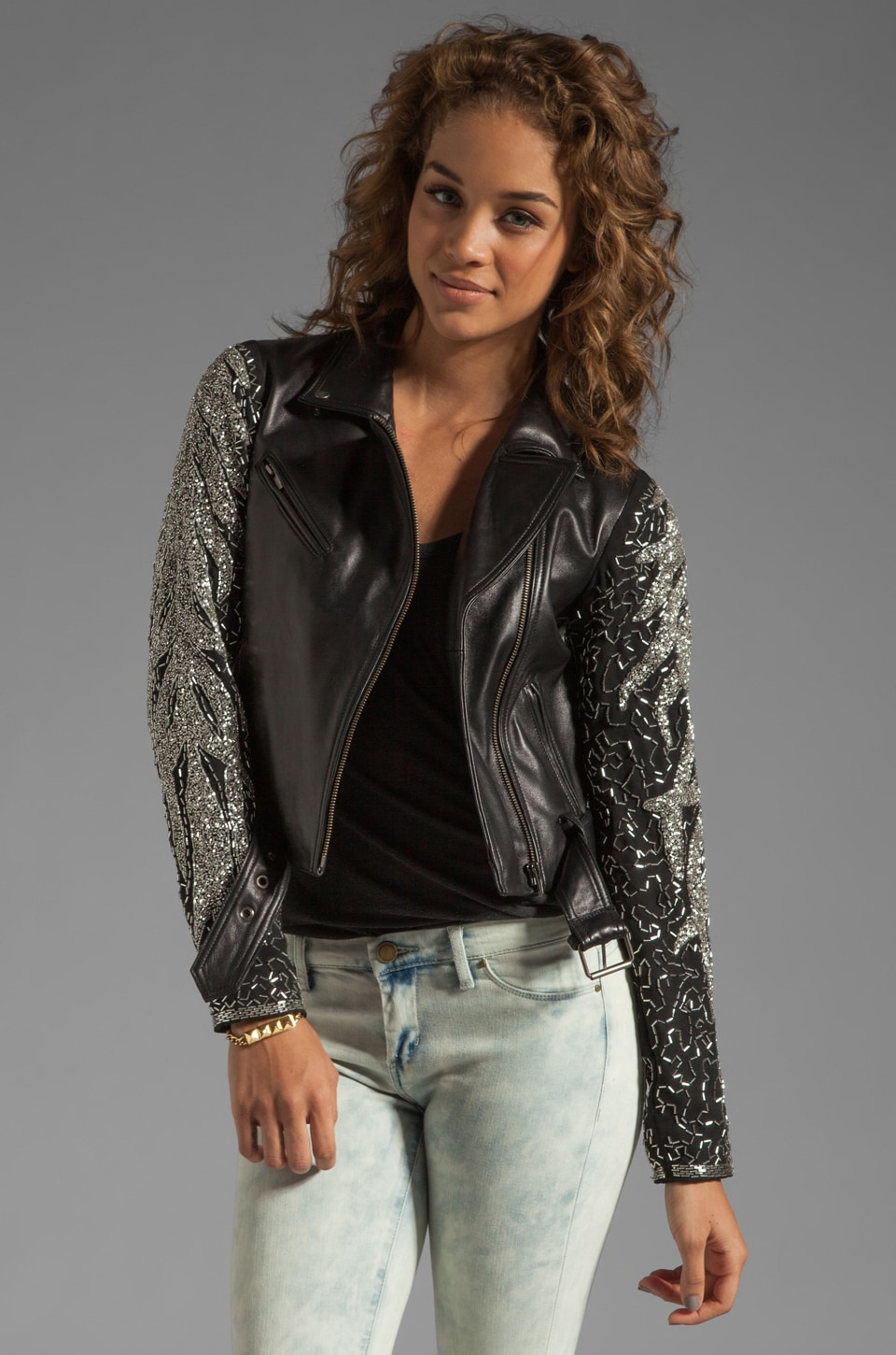 VEDA Aquarius Leather Embellished Jacket in Black/Silver
