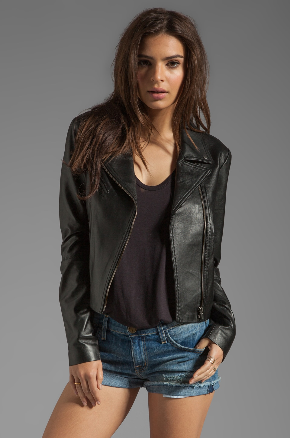 VEDA Jewel Moto Jacket in Black