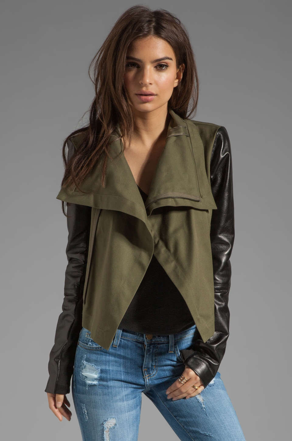 VEDA Max Army Jacket in Army/Black