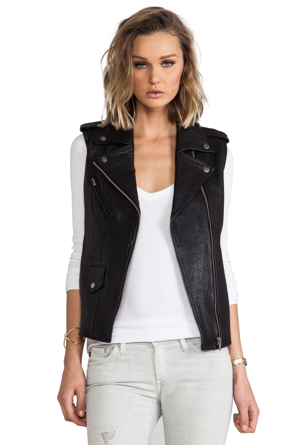 VEDA Castor Moto Vest in Black