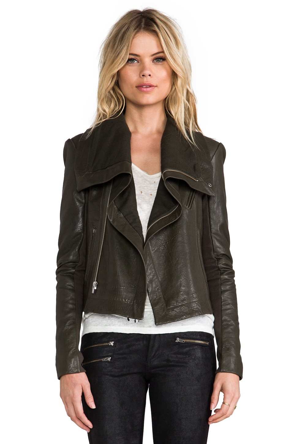 VEDA Max Classic Leather Jacket in Army