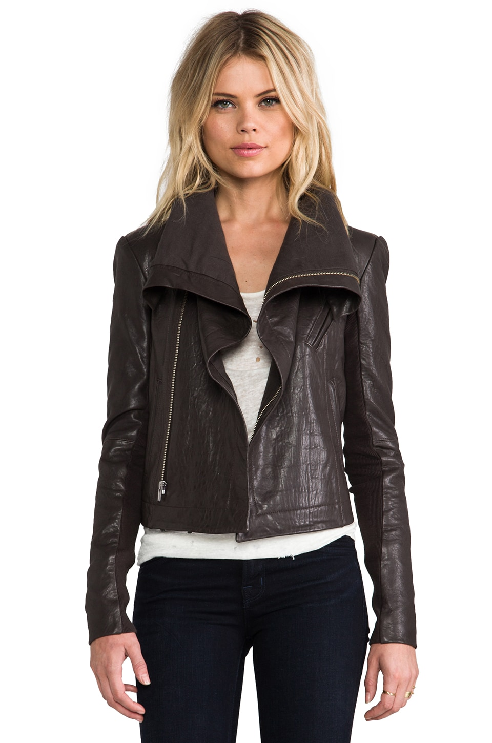 VEDA Max Classic Leather Jacket in Granite