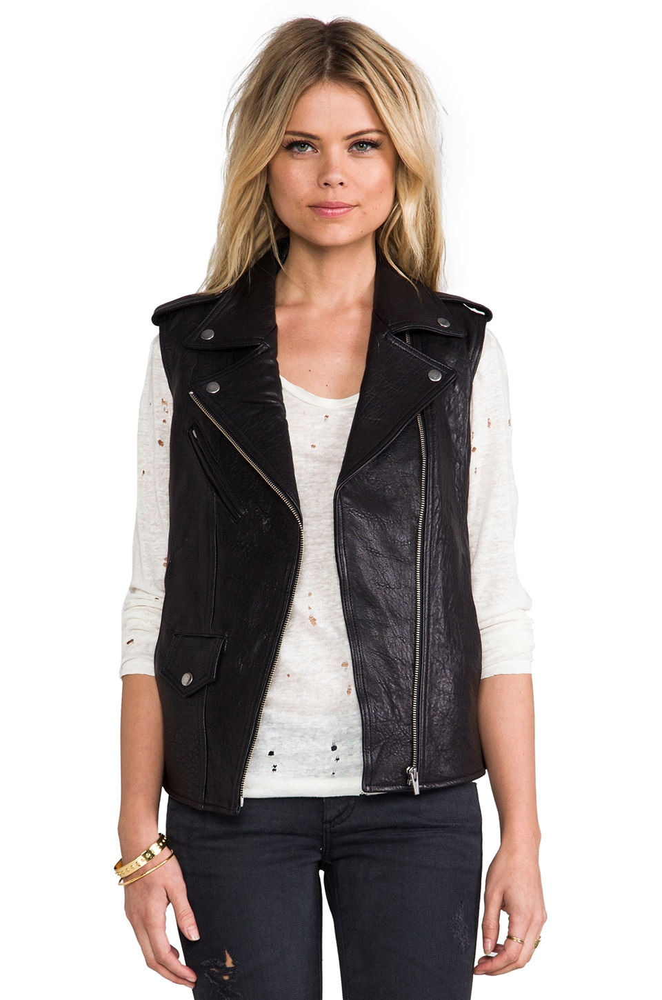 VEDA Castor Classic Leather Vest in Black