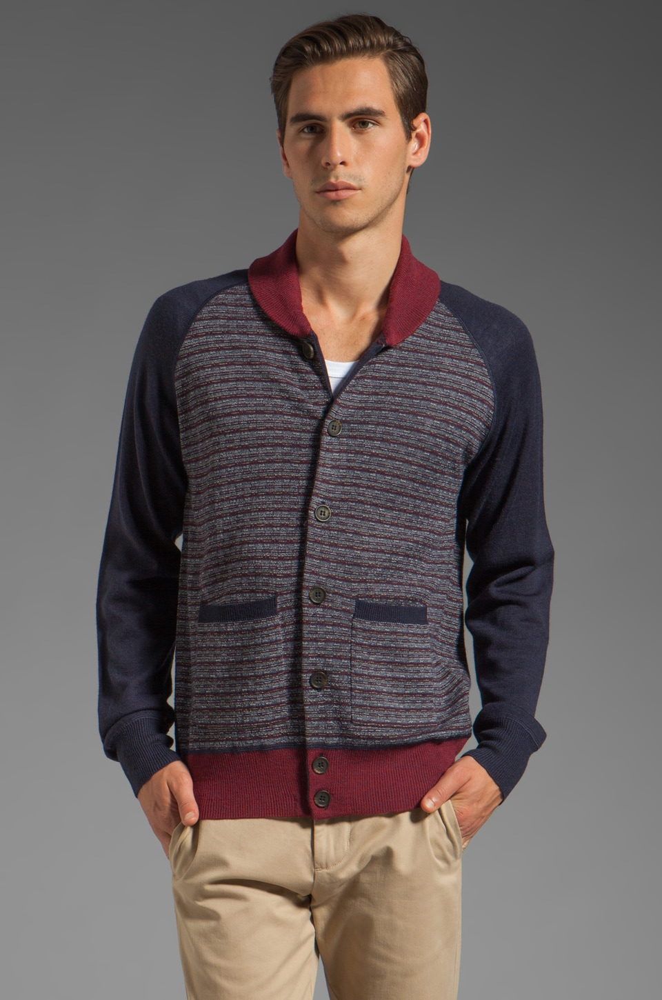 Vanishing Elephant Shawl Cardigan in Navy Speck