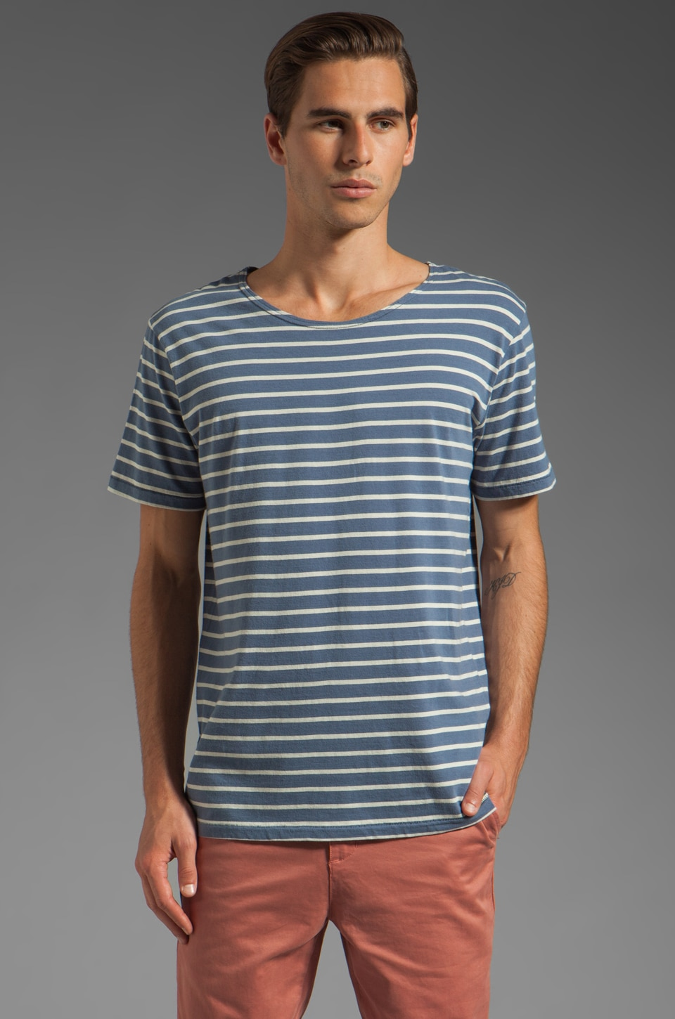 Vanishing Elephant Striped T-Shirt in Blue/Grey Stripe