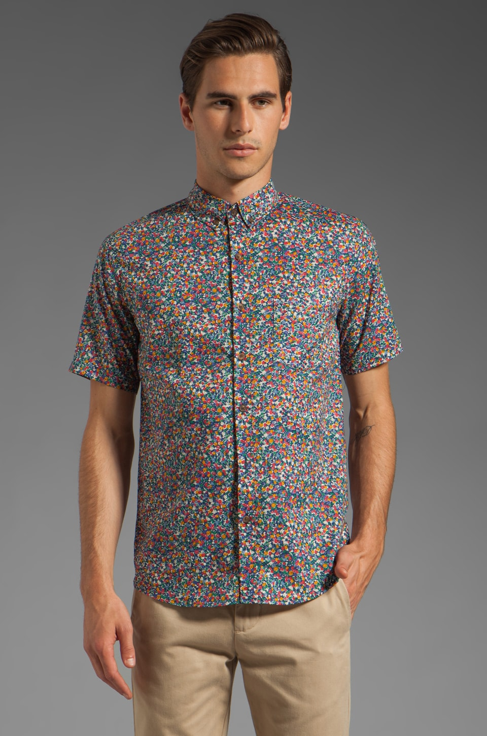 Vanishing Elephant Classic Short Sleeved Shirt in Blue Floral