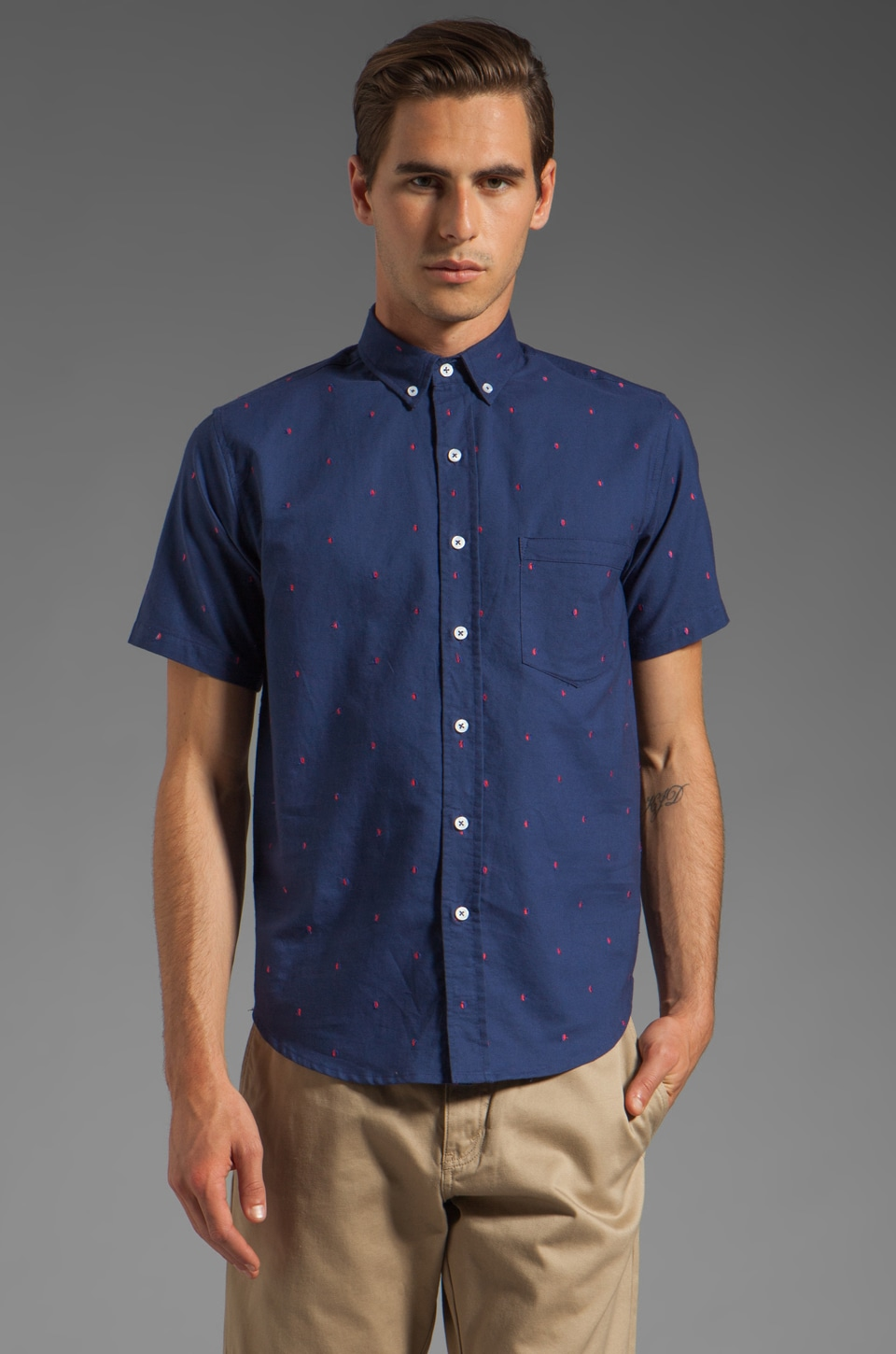 Vanishing Elephant Classic Short Sleeved Shirt in Navy Circles