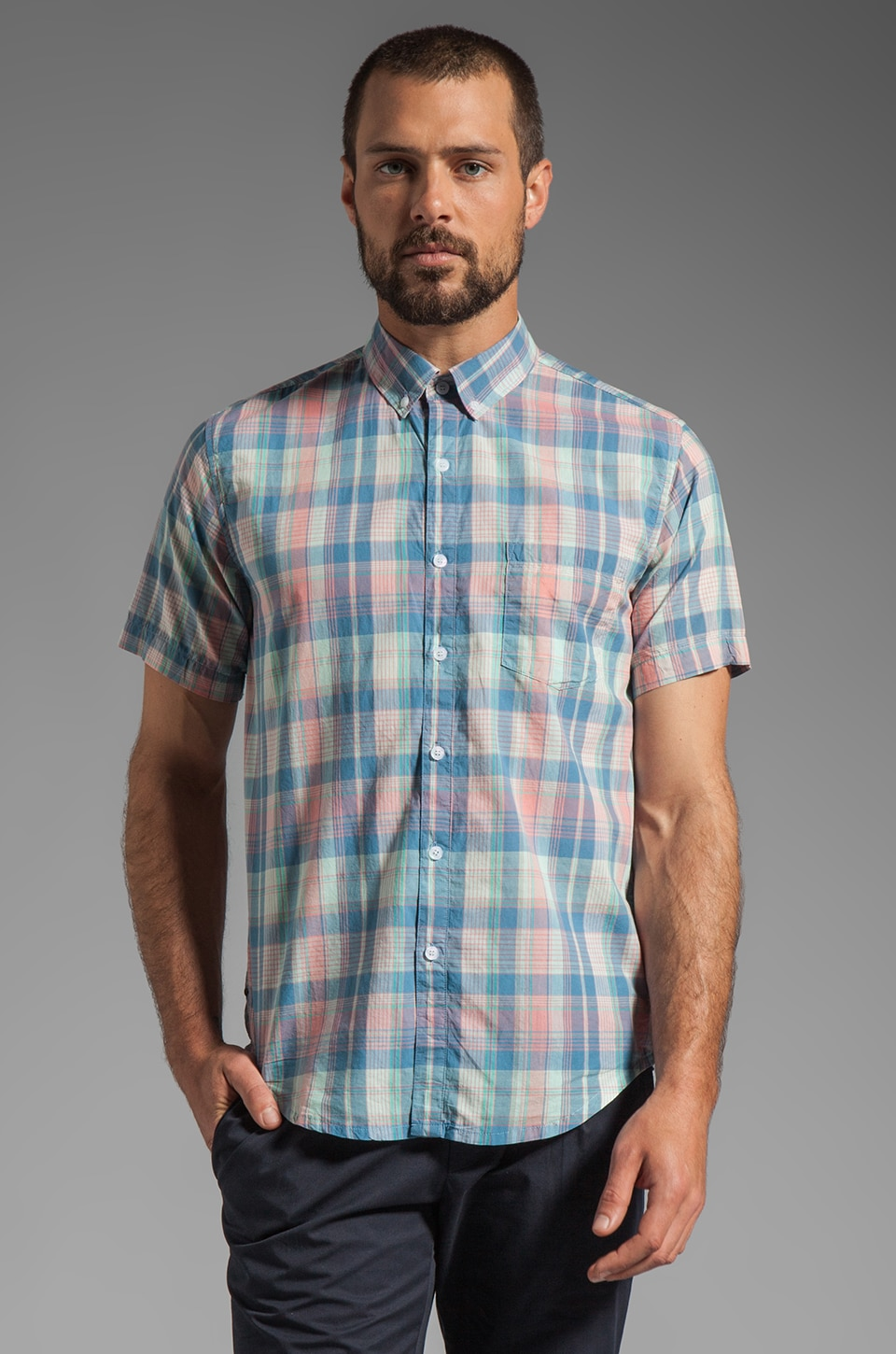 Vanishing Elephant Classic Short Sleeved Shirt in Pastel Check