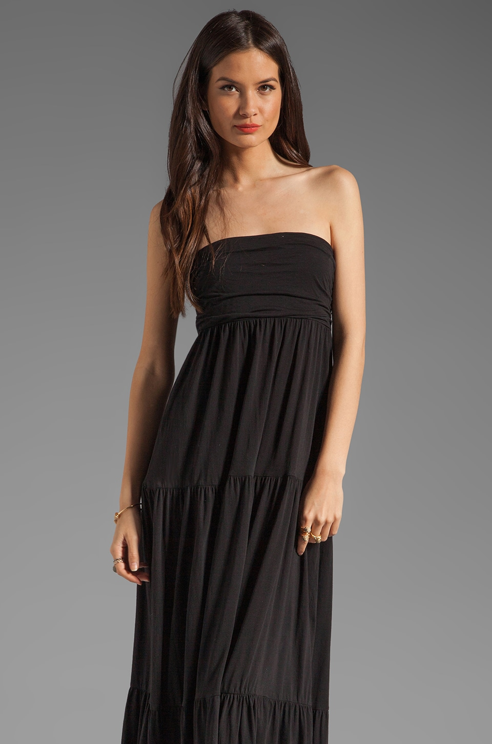 Velvet by Graham & Spencer Sheer Jersey Masha Maxi Dress in Black