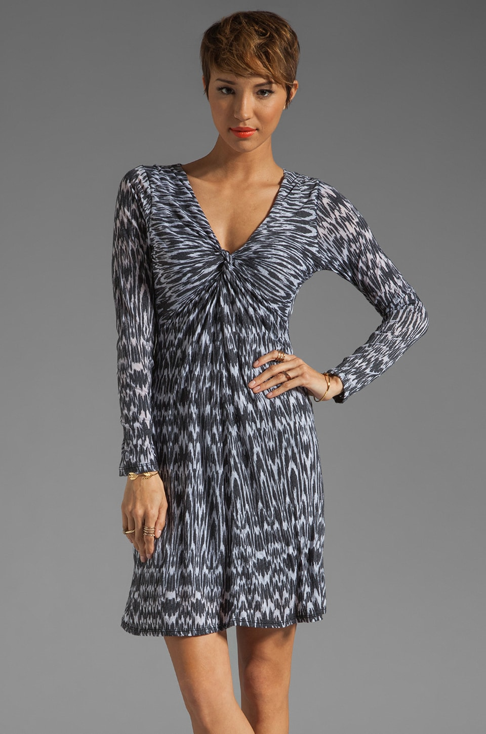 Velvet by Graham & Spencer Ikat Burnout Amanda Long Sleeve Dress in Black