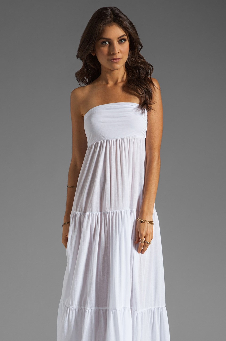 Velvet by Graham & Spencer Sheer Jersey Masha Maxi Dress in White