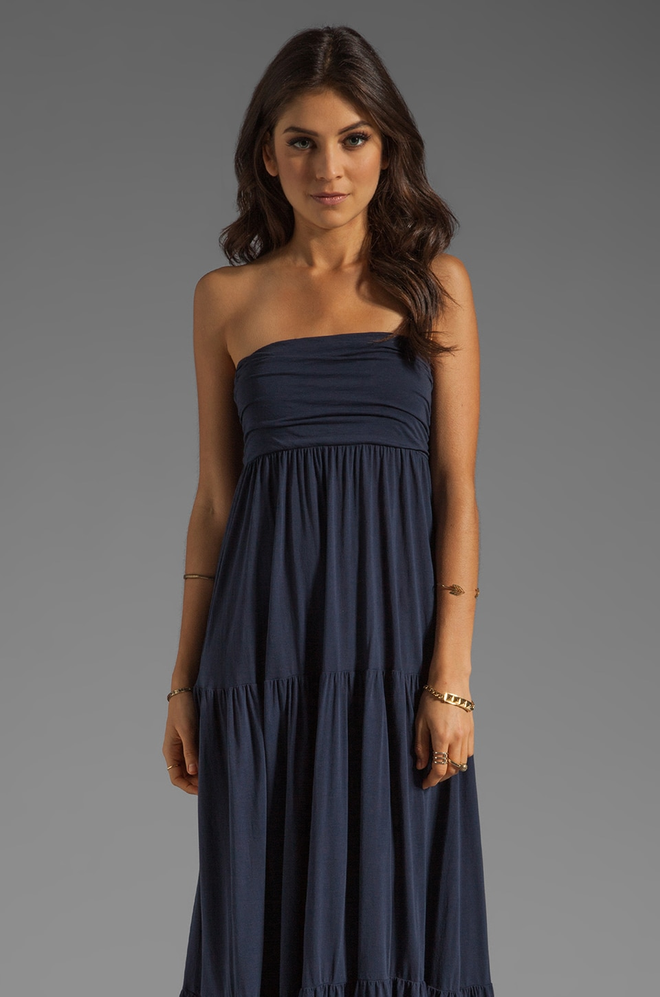 Velvet by Graham & Spencer Sheer Jersey Masha Maxi Dress in New Navy