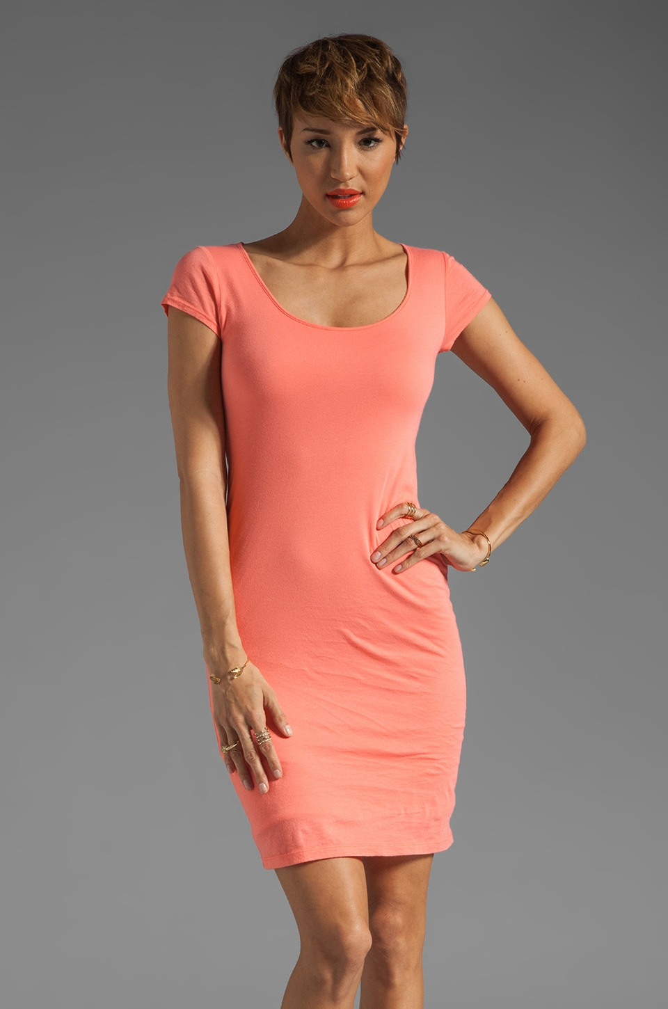 Velvet by Graham & Spencer Gauzy Whisper Classics Mabel Dress in Kumquat