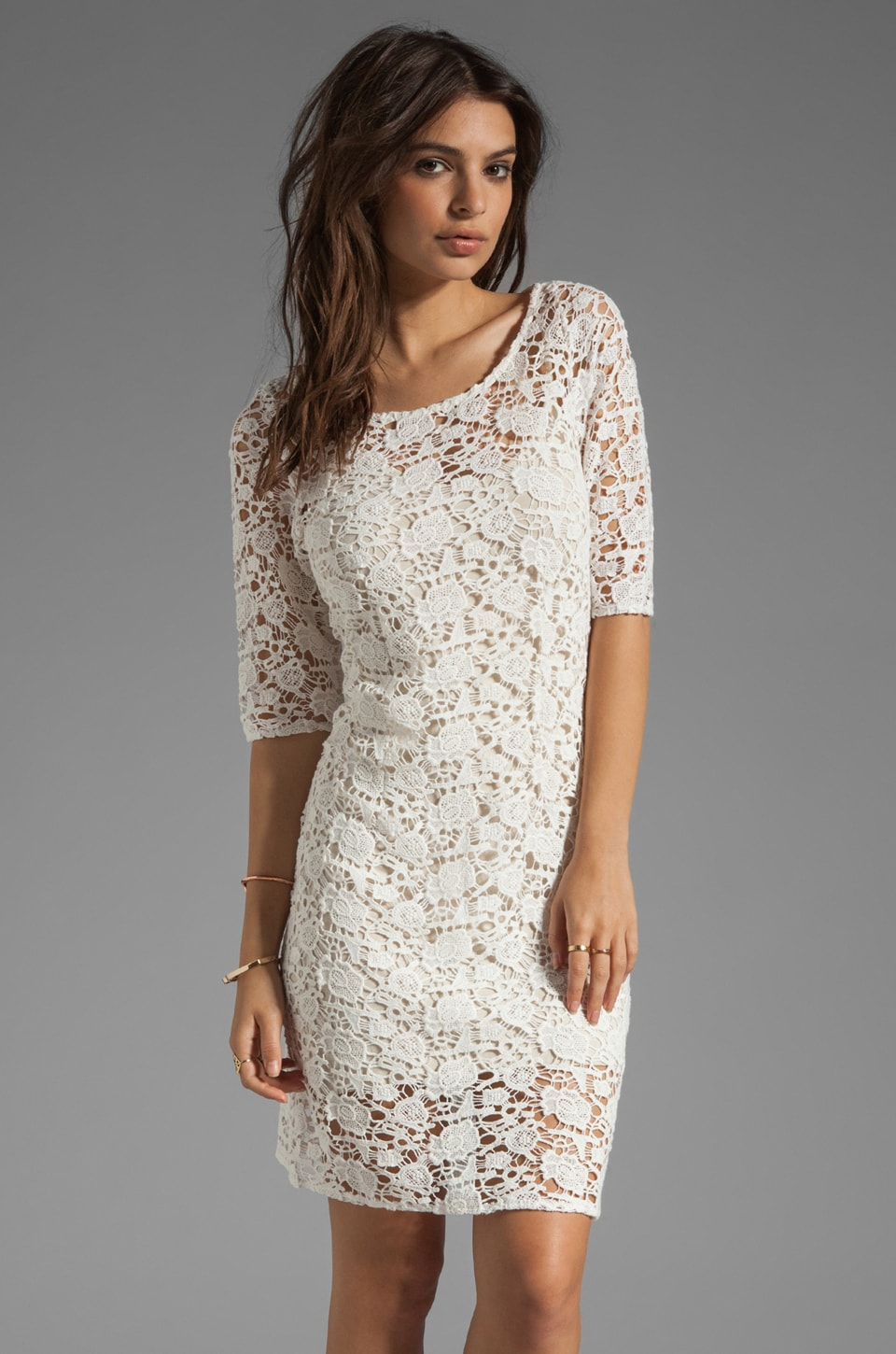 Velvet by Graham & Spencer x Lily Aldridge Lily Crochet Lace Dress in Cream