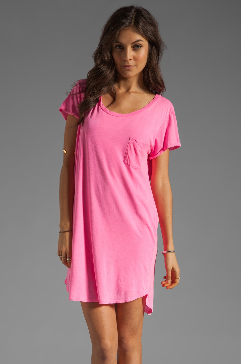 Velvet by Graham & Spencer Dasha Sheer Jersey T Shirt Dress in Verushka
