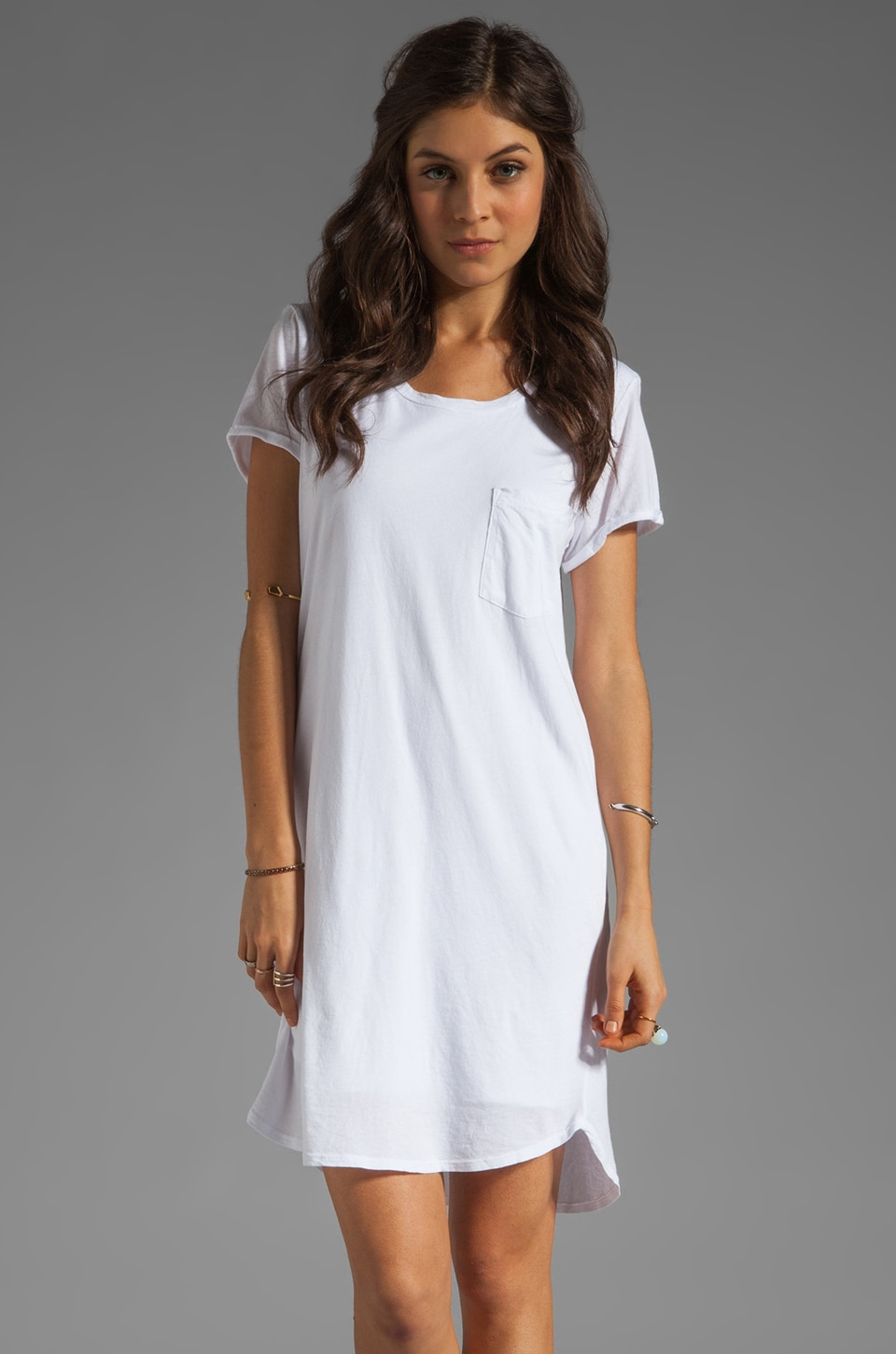 Velvet by Graham & Spencer Dasha Sheer Jersey T Shirt Dress in White