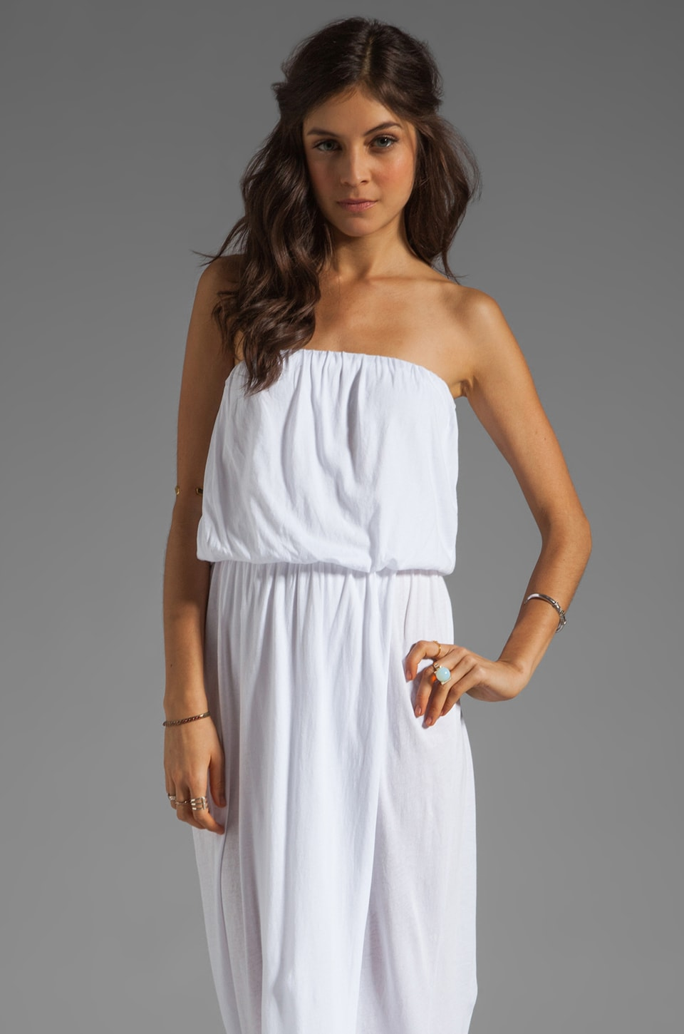 Velvet by Graham & Spencer Shivan Sheer Jersey Maxi Dress in White