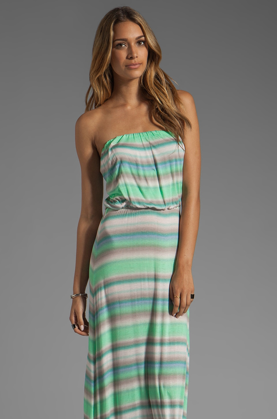 Velvet by Graham & Spencer Taylor Sunset Stripe Maxi in Aquarim
