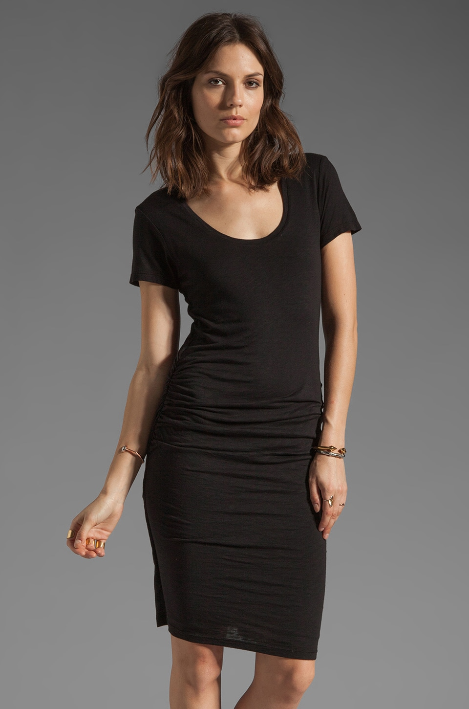 Velvet by Graham & Spencer Dina Luxe Slub Dress in Black