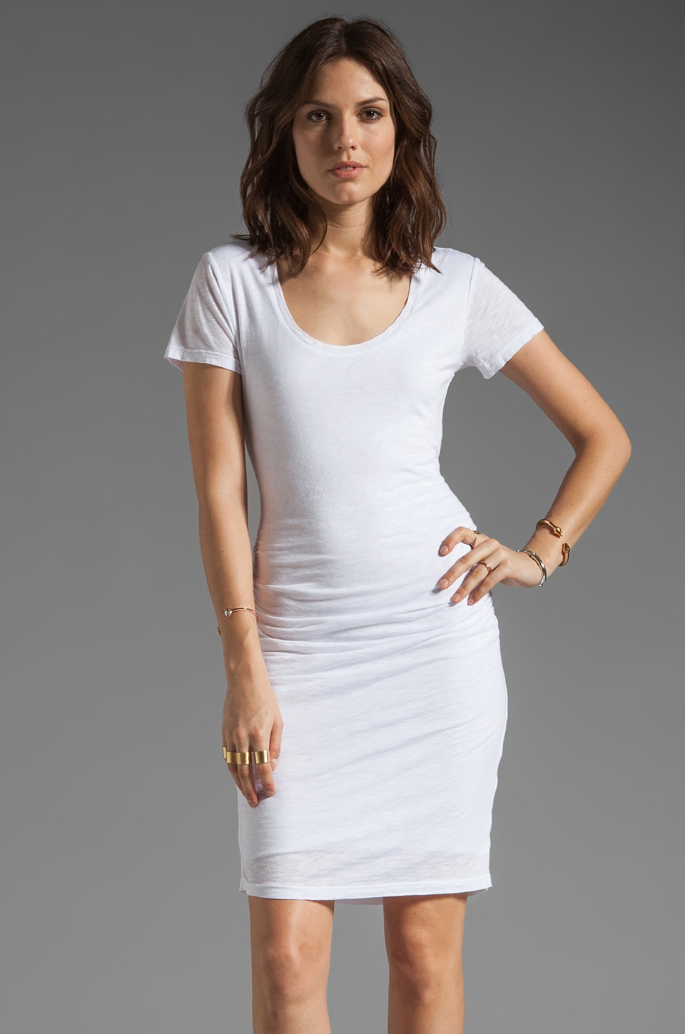 Velvet by Graham & Spencer Dina Luxe Slub Dress in White