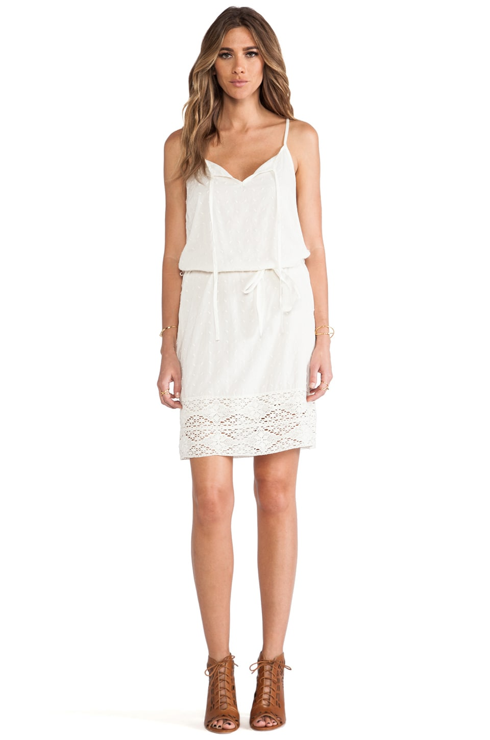 Velvet by Graham & Spencer Jo Sheer Dobby Lace Dress in Cream