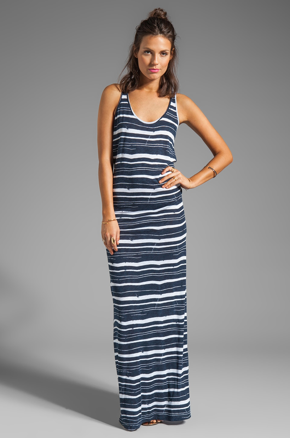 Velvet by Graham & Spencer Beth Painted Stripe Dress in Denim