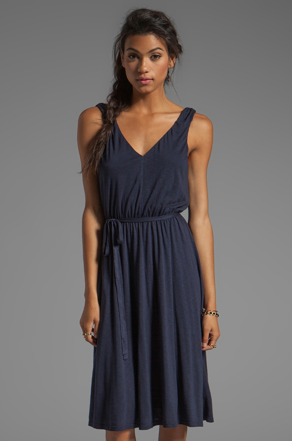 Velvet by Graham & Spencer Karlee Luxe Slub Dress in Ink